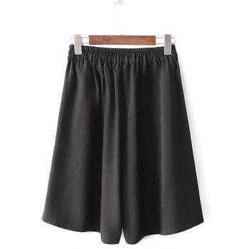 Plus Size Wide Leg Culotte Pants - BLACK BLACK