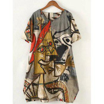 Retro Plus Size Abstract Pattern Baggy Dress