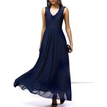 Lace Panel Chiffon Long Formal Dress