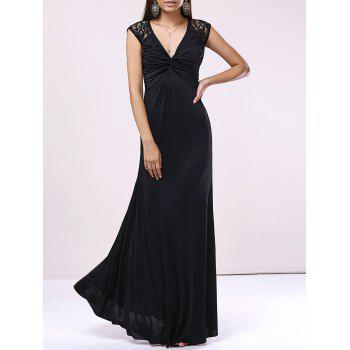 Twist Lace Panel Long Prom Dresses