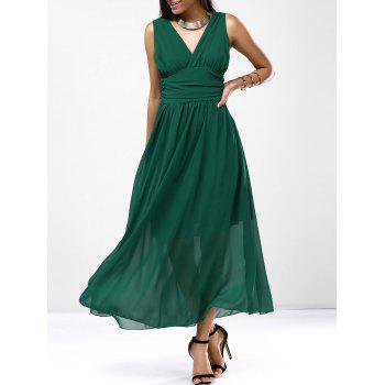 Chic Ruched Empire Waist Women's Chiffon Dress