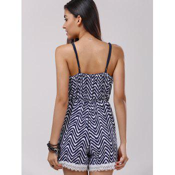 Lace Splicing Zigzag Pattern Cami Romper - PURPLISHBLUE / WHITE L