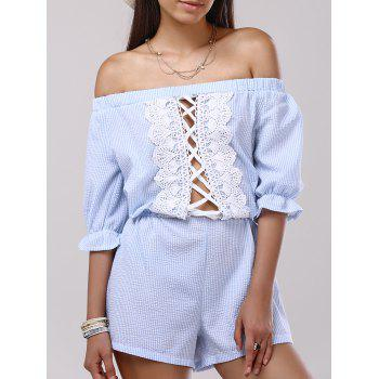 Casual Off-The-Shoulder Lace Hollow Out Romper For Women