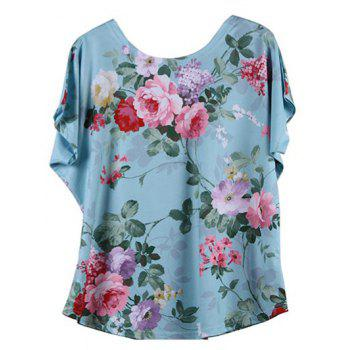 Looses-Fitting Bat Sleeve Floral Figure Print T-Shirt - LAKE BLUE 2XL