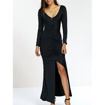 Plunge Neck High Slit Sheath Mermaid Dress