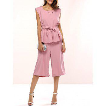 Belted Peplum Top and Palazzo Pants