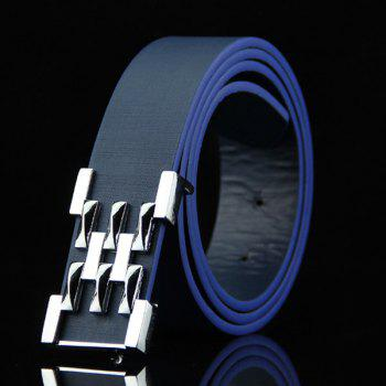 Stylish Silver Abstract Geometry Shape Embellished Casual Men's Belt - DEEP BLUE DEEP BLUE