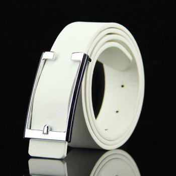 Stylish Simple Cut Out Rectangle Buckle Men's Casual PU Belt - WHITE WHITE