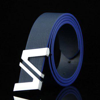 Stylish Double Cut Out Letter V Shape Embellished Men's Casual PU Belt - DEEP BLUE DEEP BLUE