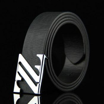 Stylish Double Letter Z Shape Embellished Men's Casual PU Belt