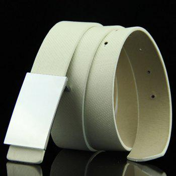 Stylish Smooth White Rectangle Shape Buckle Men's Casual PU Belt - WHITE