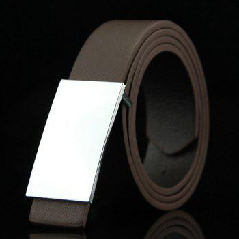Stylish Smooth White Rectangle Shape Buckle Men's Casual PU Belt