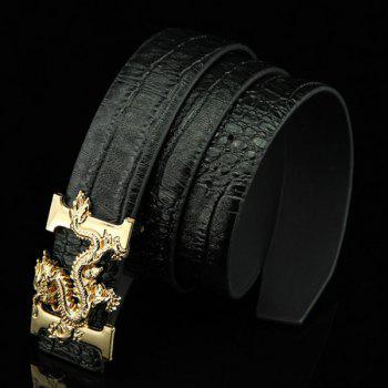 Stylish Chinese Dragon Shape Buckle Crocodile Skin Embossed Men's Casual PU Belt -  BLACK