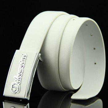 Stylish Letter Shape Embellished Rectangle Buckle Men's Casual PU Belt - WHITE