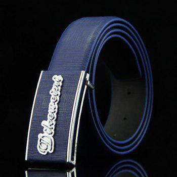 Stylish Letter Shape Embellished Rectangle Buckle Men's Casual PU Belt - DEEP BLUE DEEP BLUE