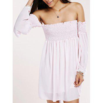 Sweet Off-The-Shoulder Ruffled Chiffon Dress