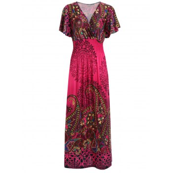 Bohemian Plunging Neck Maxi Dress For Women