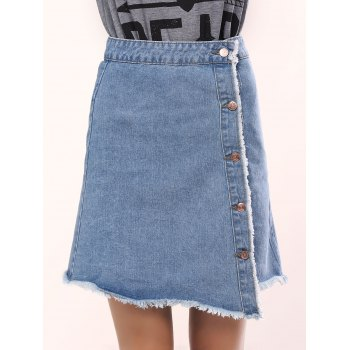 Refreshing High Waist Asymmetrical Denim Skirt For Women
