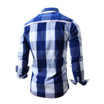 Men's Turn-Down Collar Plaid Pattern Long Sleeve Shirt - BLUE L