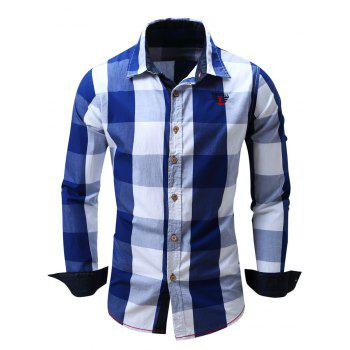 Men's Turn-Down Collar Plaid Pattern Long Sleeve Shirt