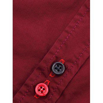 Men's Turn-Down Collar Double Button Design Long Sleeve Shirt - WINE RED 2XL