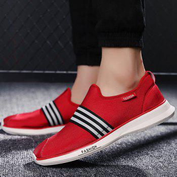 Stylish Striped and Stretch Fabric Design Men's Casual Shoes - RED 40