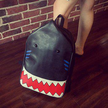 Trendy Print and PU Leather Design Women's Backpack - BLACK