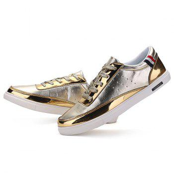 Stylish Metallic Color and Lace-Up Design Men's Casual Shoes - GOLDEN 40