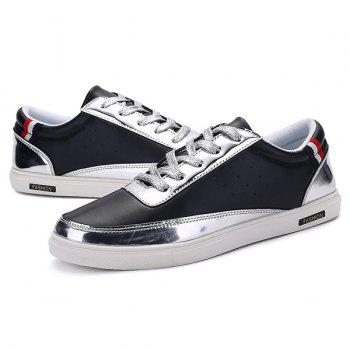 Stylish Metallic Color and Lace-Up Design Men's Casual Shoes - BLACK 41