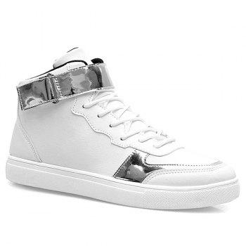 Sports Style High Top and PU Leather Design Men's Casual Shoes