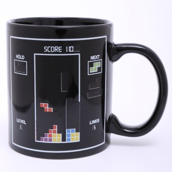Creative Tetris Pattern Ceramic Heat Sensitive DIY Color Changing Mug For Gifts -  BLACK