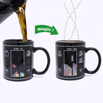Creative Tetris Pattern Ceramic Heat Sensitive DIY Color Changing Mug For Gifts - BLACK BLACK