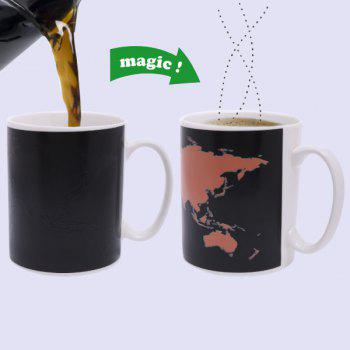 Creative The World Map Pattern Ceramic Heat Sensitive DIY Color Changing Mug For Gifts