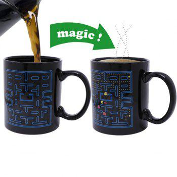 Creative Pac-Man Pattern Ceramic Heat Sensitive DIY Color Changing Mug For Gifts - BLACK BLACK
