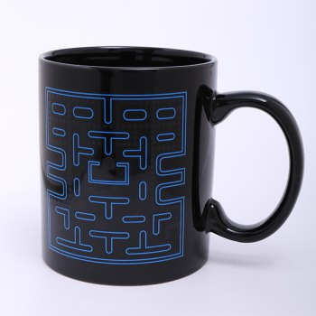 Creative Pac-Man Pattern Ceramic Heat Sensitive DIY Color Changing Mug For Gifts -  BLACK