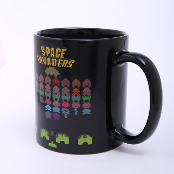 Creative Space Invader Game Pattern Ceramic Heat Sensitive DIY Color Changing Mug For Gifts -  BLACK