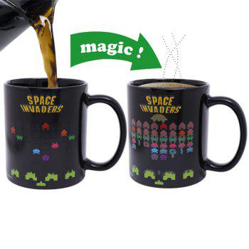 Creative Space Invader Game Pattern Ceramic Heat Sensitive DIY Color Changing Mug For Gifts - BLACK BLACK