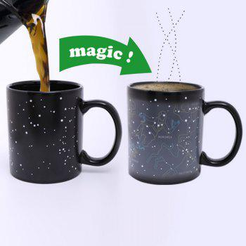 Creative Tribe People Pattern Ceramic Heat Sensitive DIY Color Changing Mug For Gifts - BLACK BLACK