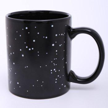 Creative Tribe People Pattern Ceramic Heat Sensitive DIY Color Changing Mug For Gifts -  BLACK