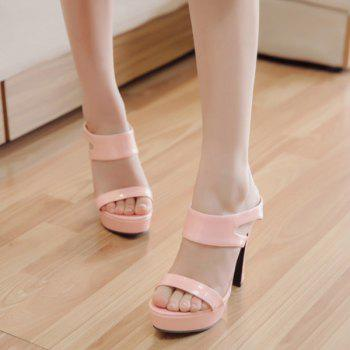 Trendy Chunky Heel and Platform Design Women's Slippers - PINK 37