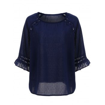 Chic Plus Size Cut Out Blouse For Women - DEEP BLUE DEEP BLUE