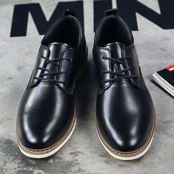 Trendy Tie Up and PU Leather Design Men's Formal Shoes - BLACK BLACK