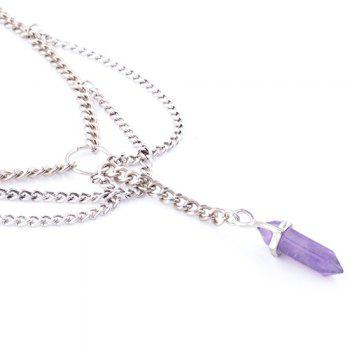 Punk Style Silver Plated Multilayered Link Chain Faux Amethyst Choker For Women - SILVER