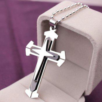 Stainless Steel Cross Pendant Necklace - BLACK