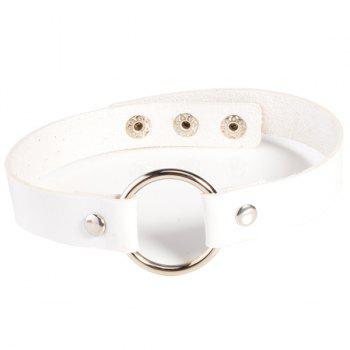 Buy Faux Leather Round Choker Necklace WHITE