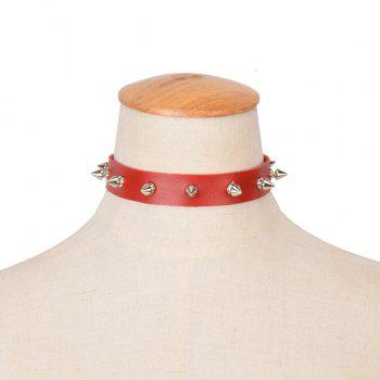 Faux Leather Bullet Rivet Choker Necklace
