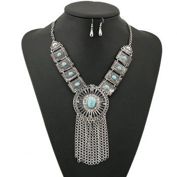 Suit Rhinestone Faux Turquoise Necklace Earrings