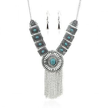 A Suit of Rhinestone Faux Turquoise Necklace and Earrings - SILVER/BLUE