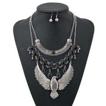 A Suit of Punk Layered Water Drop Eagle Necklace and Earrings