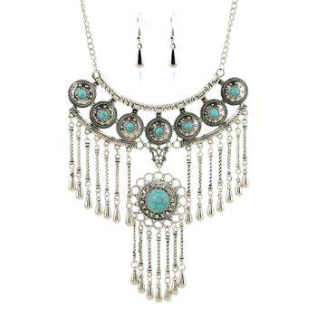 Suit Faux Turquoise Water Drop Round Necklace Earrings